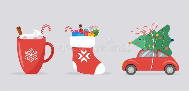 Fundo do Feliz Natal, bandeira com ícones do Xmas - caneca do carro, da peúga e do cacau ilustração royalty free