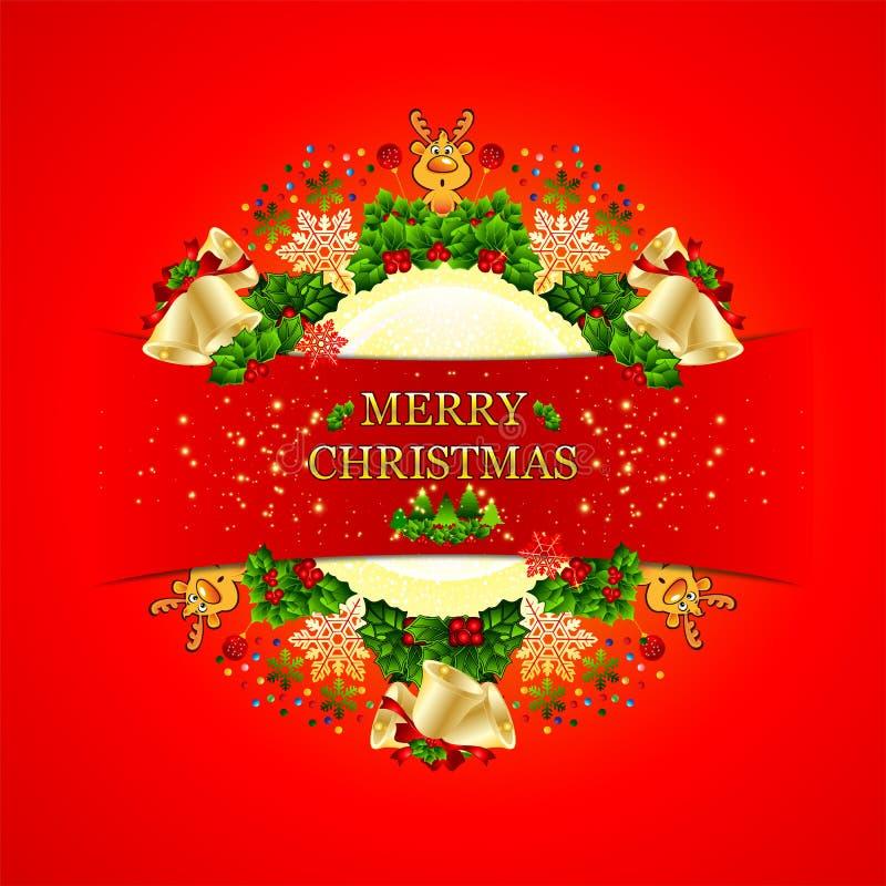 Fundo do Feliz Natal com quadro circular ilustração do vetor