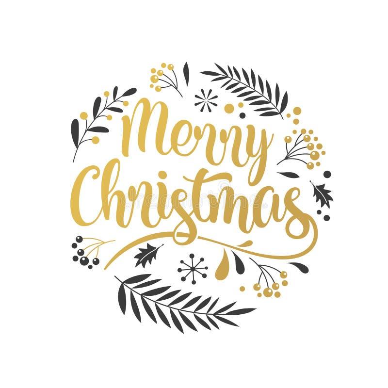 Fundo do Feliz Natal com a tipografia, rotulando Cartão, bandeira e cartaz ilustração royalty free