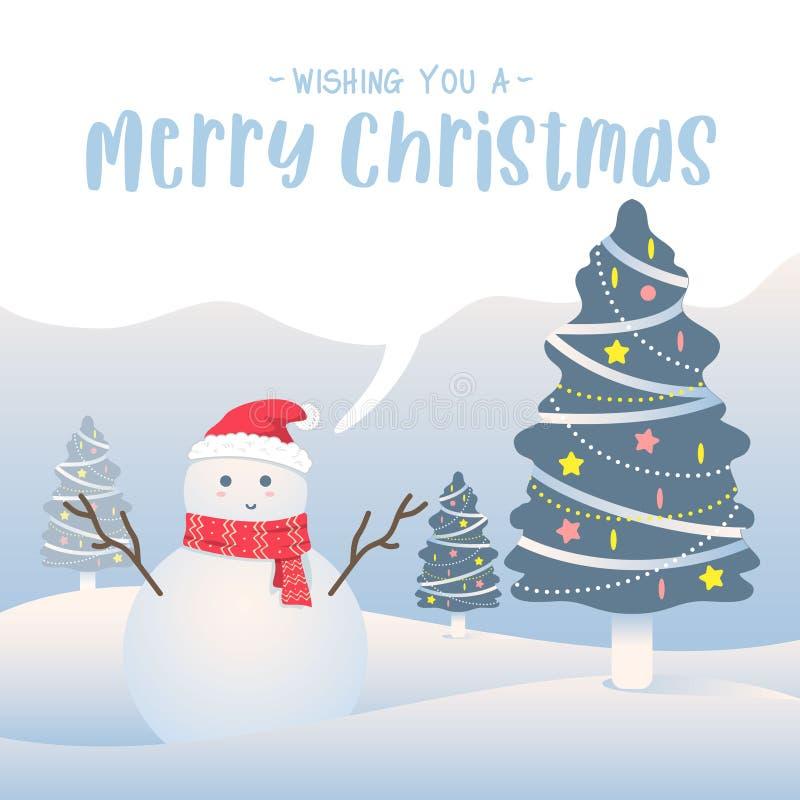 Fundo do Feliz Natal Desenhos animados bonitos do boneco de neve ilustração do vetor