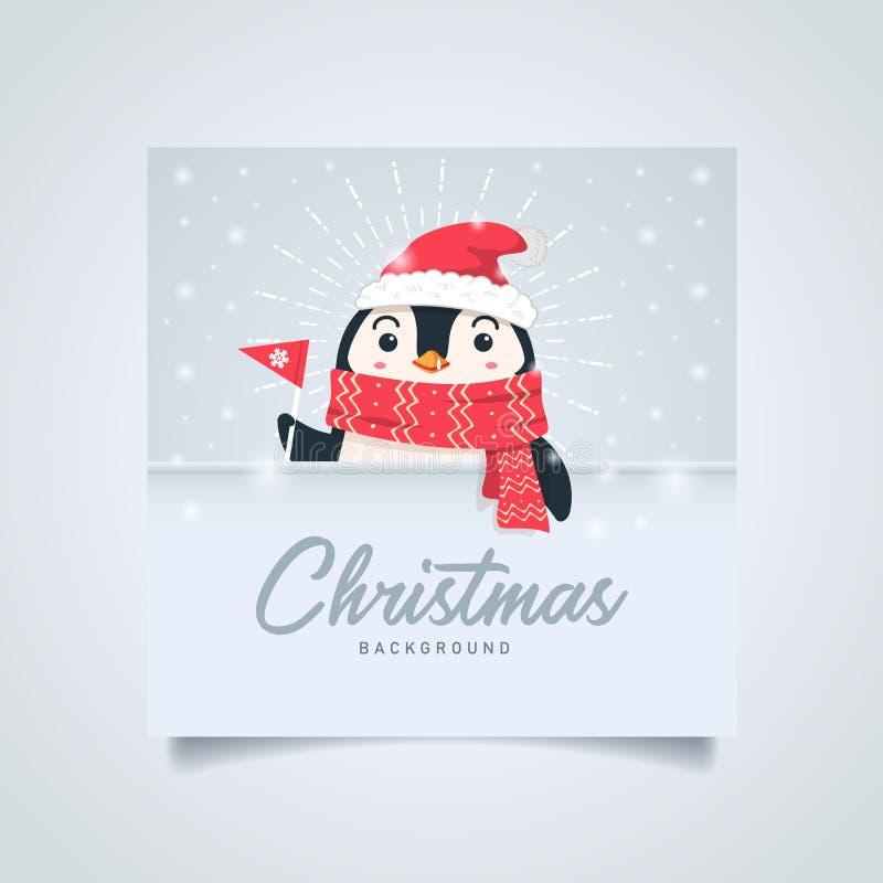 Fundo do Feliz Natal Desenhos animados bonitos felizes do pinguim ilustração do vetor