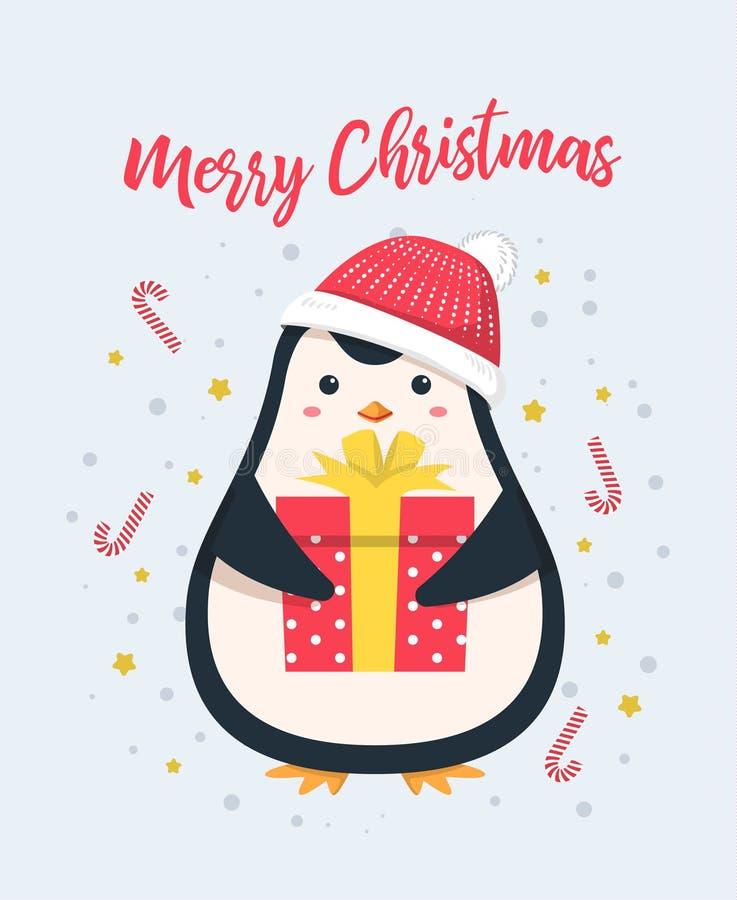 Fundo do Feliz Natal Desenhos animados bonitos do pinguim ilustração do vetor