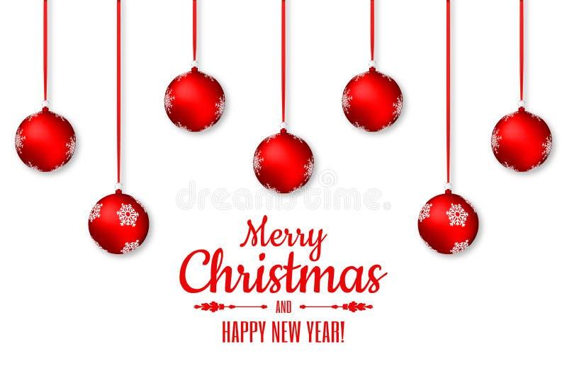 Fundo do Feliz Natal e do ano novo feliz Bolas vermelhas de suspensão do Natal com fitas e tipografia ilustração royalty free