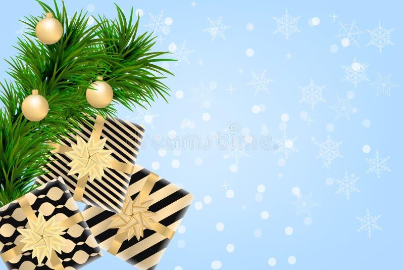 Fundo do Feliz Natal e do ano novo feliz com caixas de presente, ramos do abeto e bolas do Natal Projeto moderno Backgrou univers ilustração stock