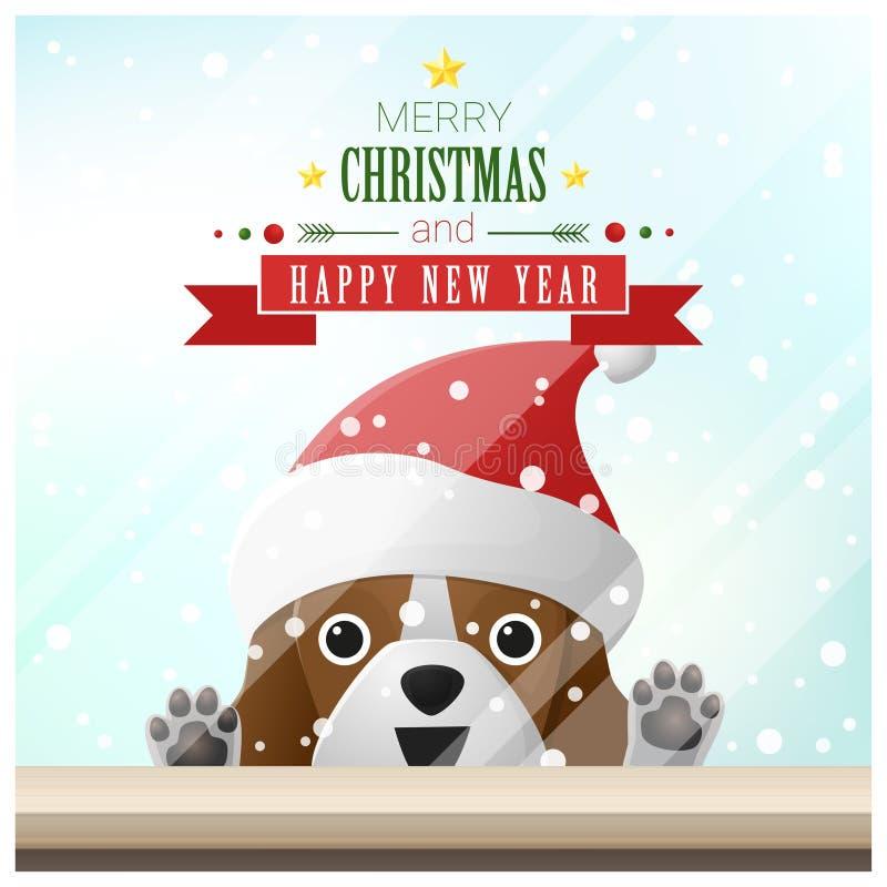 Fundo do Feliz Natal e do ano novo feliz com o cão que está atrás da janela ilustração royalty free