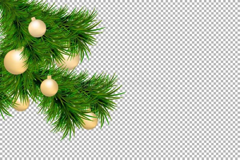 Fundo do Feliz Natal e do ano novo feliz com os ramos do abeto e as bolas do Natal isolados no fundo transparente DES moderno ilustração royalty free