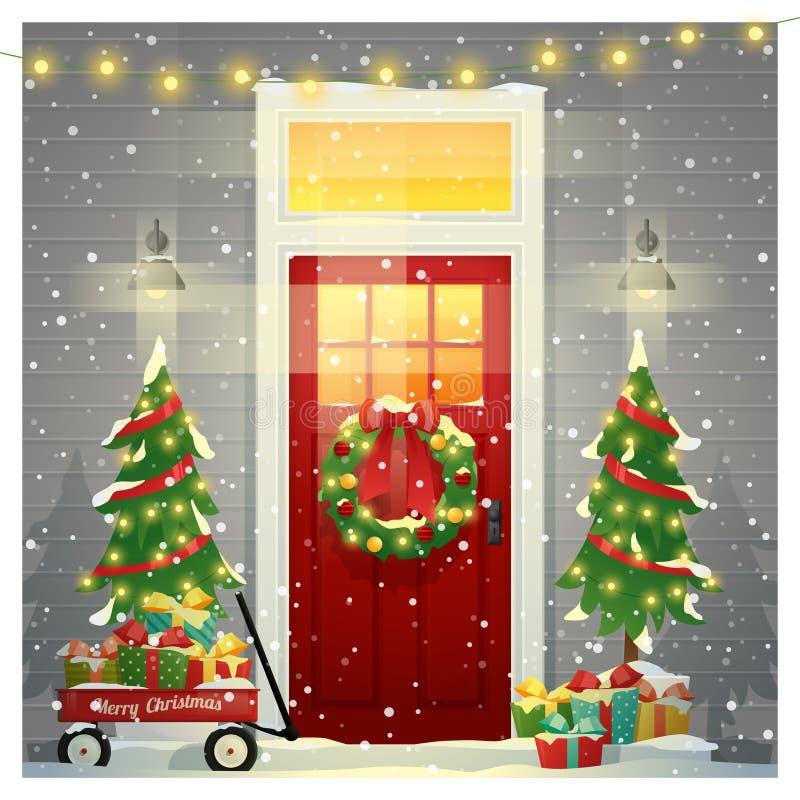 Fundo do Feliz Natal e do ano novo feliz com porta da rua decorada do Natal ilustração do vetor