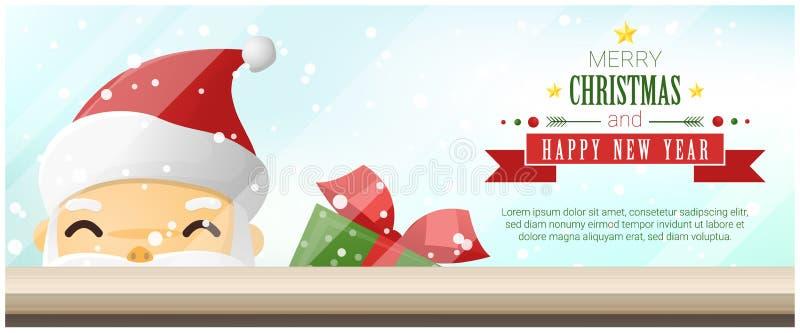 Fundo do Feliz Natal e do ano novo feliz com Santa Claus que está atrás da janela ilustração do vetor
