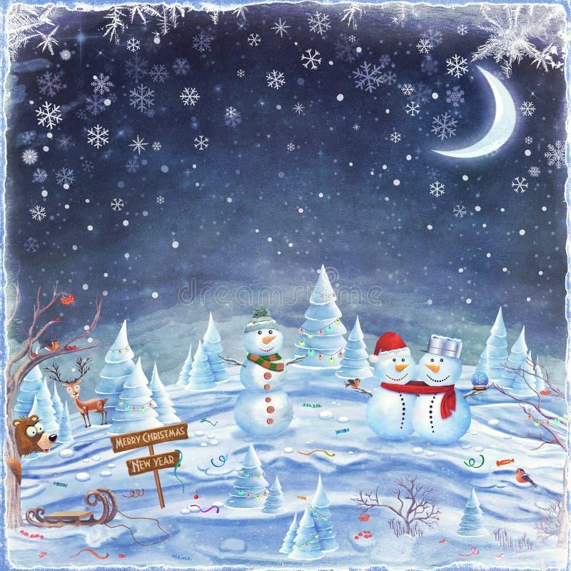 Fundo do Feliz Natal e do ano novo feliz ilustração royalty free