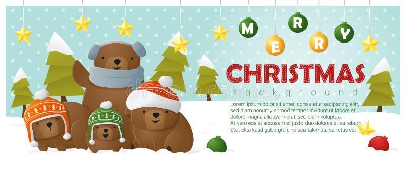 Fundo do Feliz Natal e do ano novo feliz com família do urso ilustração stock