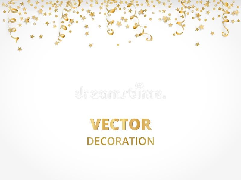 Fundo do feriado Beira dourada isolada da festão, quadro Quinquilharias de suspensão, flâmulas, confetes de queda ilustração royalty free
