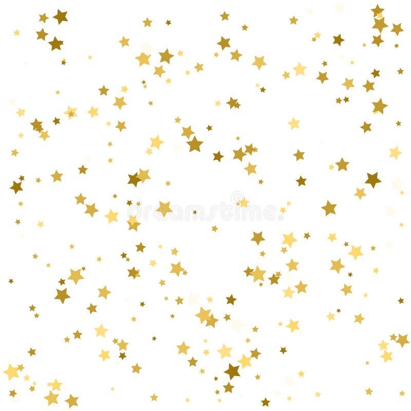 Fundo do feriado com as estrelas douradas pequenas isoladas no branco ilustração stock