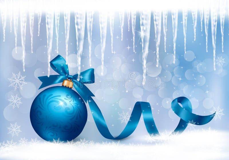 Fundo do feriado com curva azul do presente com bola ilustração do vetor