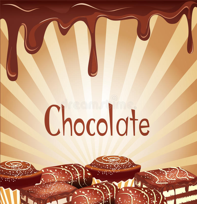 Fundo do feriado com doces de chocolate ilustração do vetor