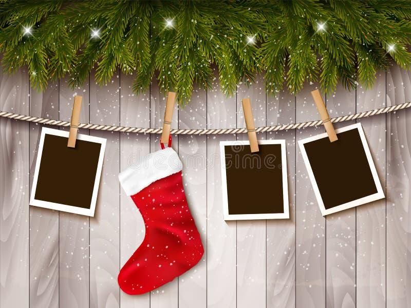 Fundo do feriado com fotos e um soquete vermelho do Natal ilustração royalty free