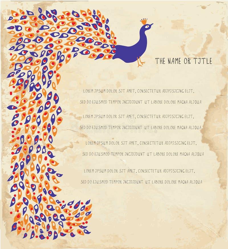 Fundo do feriado com pavão e papel ilustração do vetor