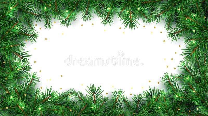 Fundo do feriado de inverno Beira com ramos de árvore do Natal e decoração dos confetes do brilho do ouro ilustração stock