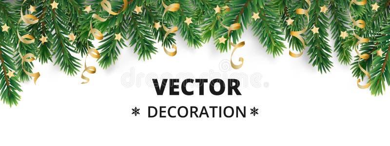 Fundo do feriado de inverno Beira com ramos e ornamento de árvore do Natal ilustração royalty free