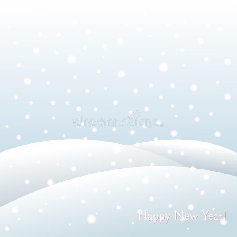Fundo do feriado de inverno em montes de neve do ano novo e do Natal, paisagem gelado de queda do inverno dos flocos de neve ilustração royalty free