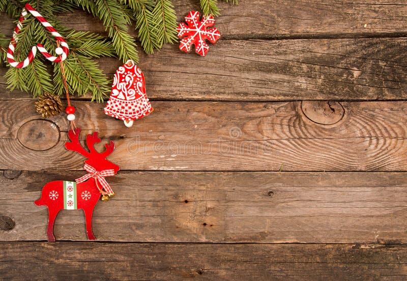 Fundo do feriado do ano novo do Natal com cookies do pão-de-espécie imagens de stock royalty free