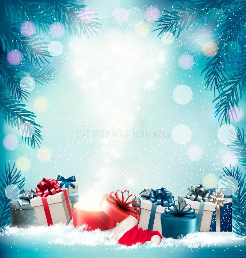 Fundo do feriado do Natal com 2018 e caixa mágica ilustração do vetor
