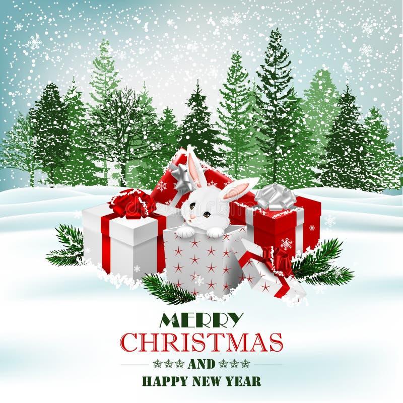 Fundo do feriado do Natal com presentes e coelho branco bonito Vetor ilustração royalty free