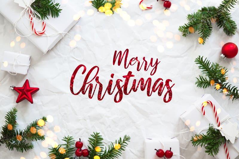 Fundo do feriado do Natal e do ano novo Cartão do Xmas Feriados de inverno fotos de stock royalty free
