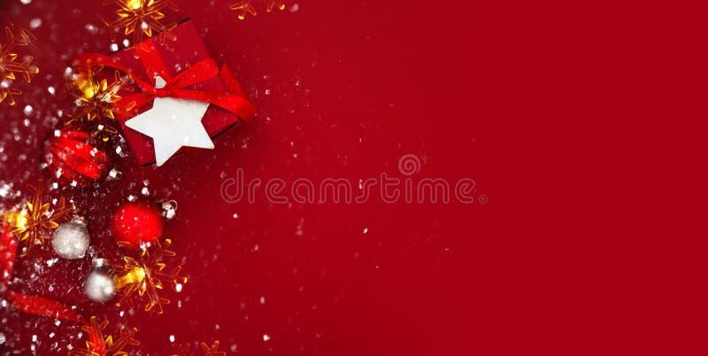 Fundo do feriado do Natal e do ano novo Cartão do Xmas Feriados de inverno imagens de stock