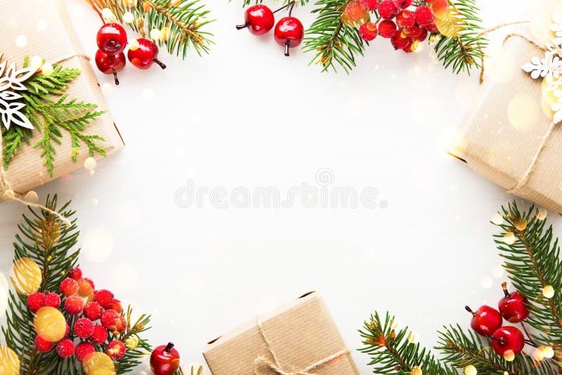 Fundo do feriado do Natal e do ano novo Cartão do Xmas Feriados de inverno fotos de stock