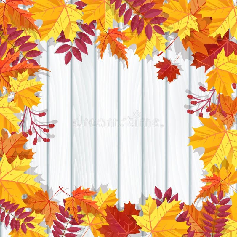 Fundo do festival do outono Bandeira do convite com folhas da queda Ilustração do vetor ilustração royalty free