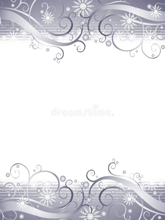 Fundo do floco de neve da prata do país das maravilhas do inverno ilustração do vetor
