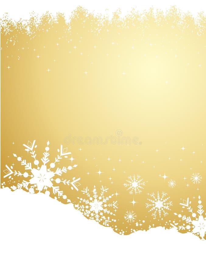 Fundo do floco de neve do ouro ilustração do vetor