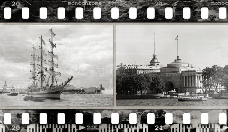 Fundo do frame de película (textura, fotos, ruído) foto de stock royalty free