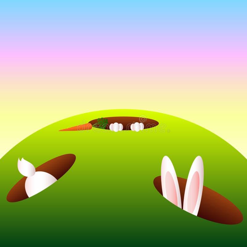 Fundo do furo de coelho dos desenhos animados ilustração stock