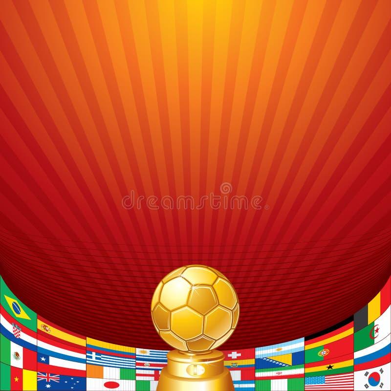 Fundo do futebol. Copo com a bandeira das equipas nacionais ilustração do vetor