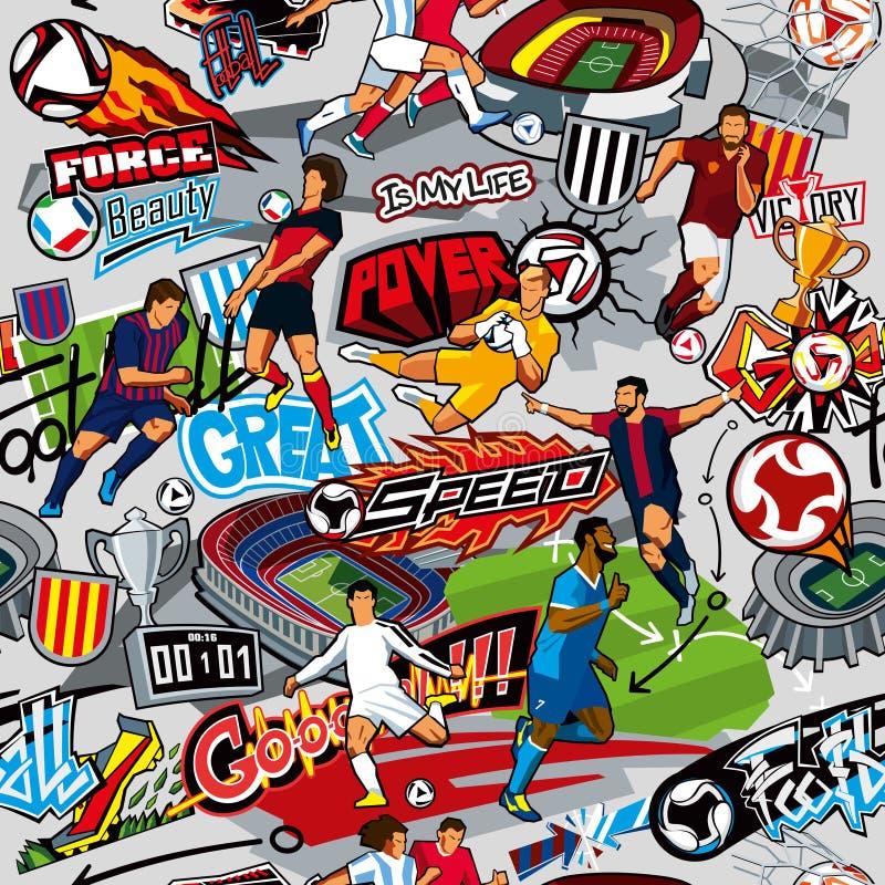 Fundo do futebol Teste padrão sem emenda Atributos do futebol, figuras do futebol de várias equipes em um fundo cinzento ilustração do vetor