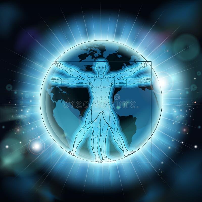 Fundo do globo do mundo da terra do homem de Vitruvian ilustração stock