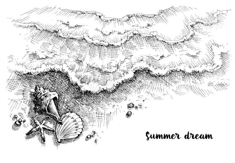 Fundo do gráfico da praia e do mar ilustração do vetor