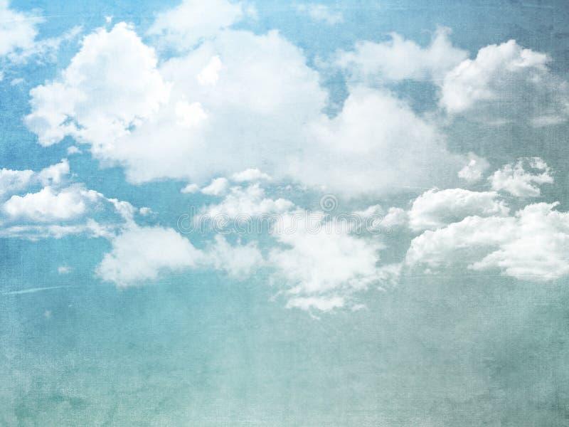 Fundo do Grunge do céu azul com nuvens brancas ilustração do vetor