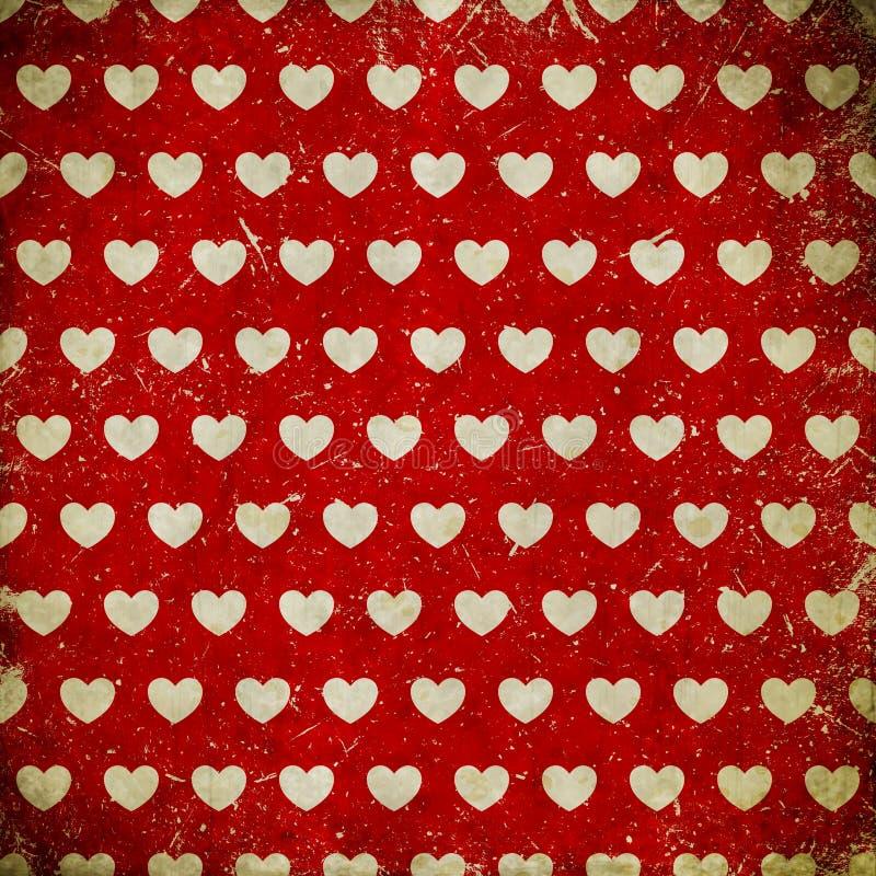 Fundo do Grunge com corações ilustração royalty free