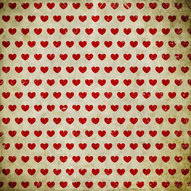 Fundo do Grunge com corações ilustração do vetor