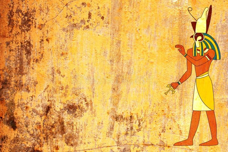 Fundo do Grunge com imagem egípcia de Horus do deus imagens de stock