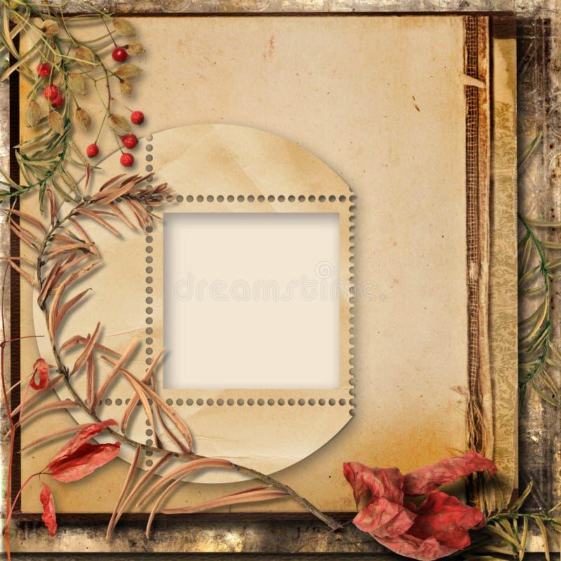 Fundo do Grunge com ramalhete do outono e um quadro para fotos ilustração do vetor