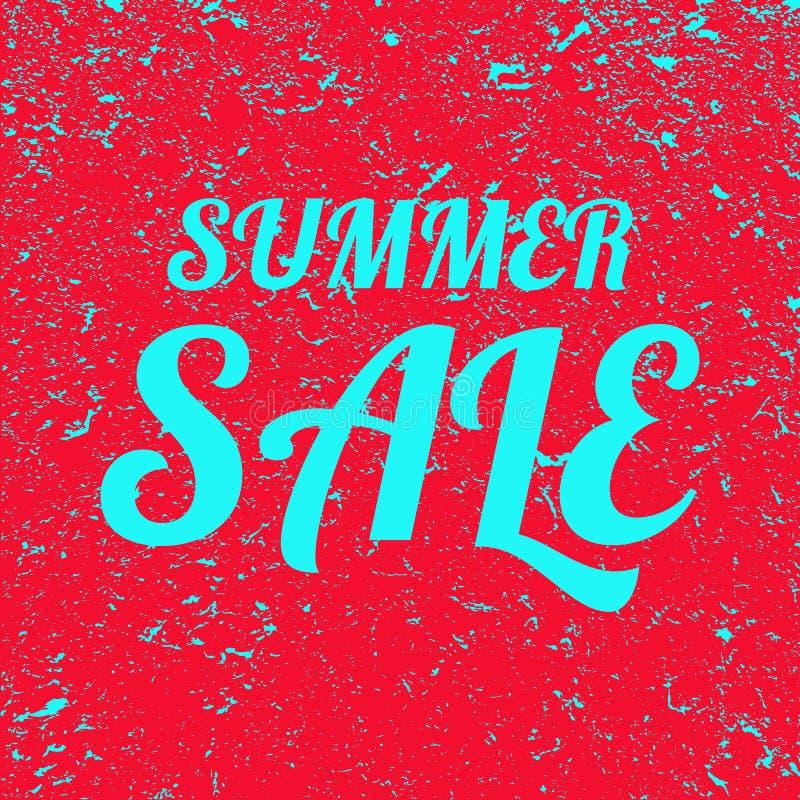 Fundo do grunge da venda do verão da palavra Bandeira vermelha com venda azul do verão do texto Ilustra??o ilustração do vetor