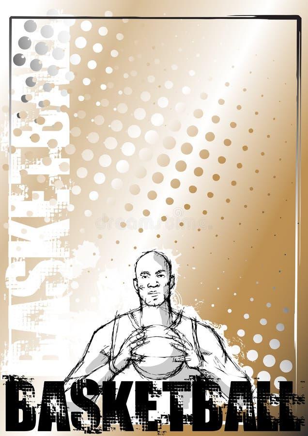 Fundo do grunge do basquetebol do lápis ilustração royalty free