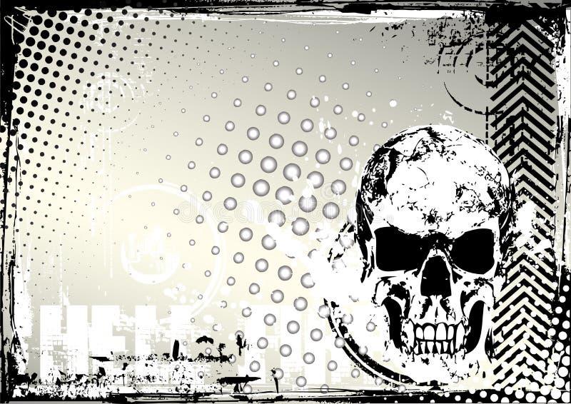 Fundo do grunge do crânio ilustração do vetor