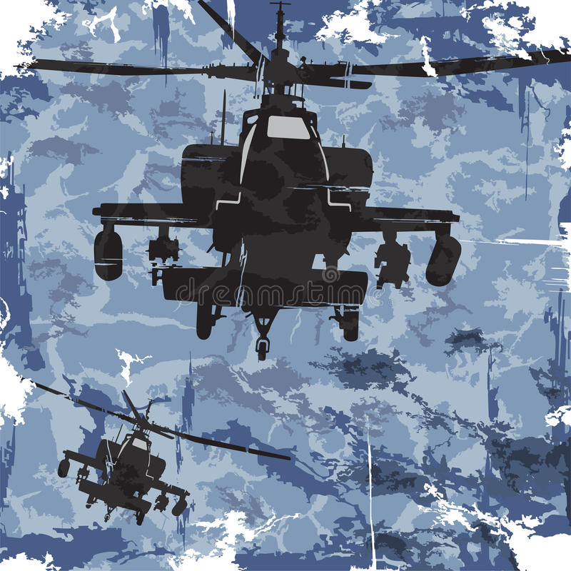 Fundo do grunge do exército com helicóptero Vetor ilustração royalty free