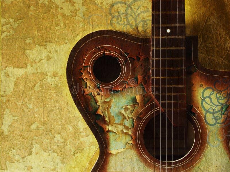 Fundo do grunge do vintage com guitarra ilustração stock