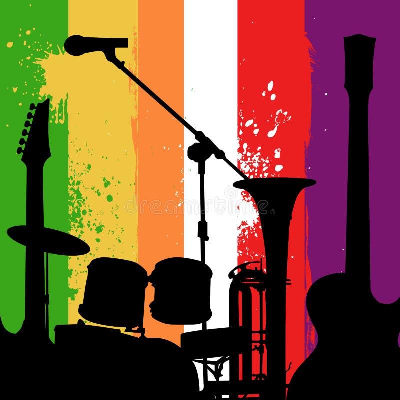Fundo do grunge dos instrumentos de música ilustração royalty free