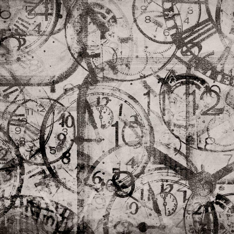 Fundo do Grunge relógios Tempo ilustração royalty free